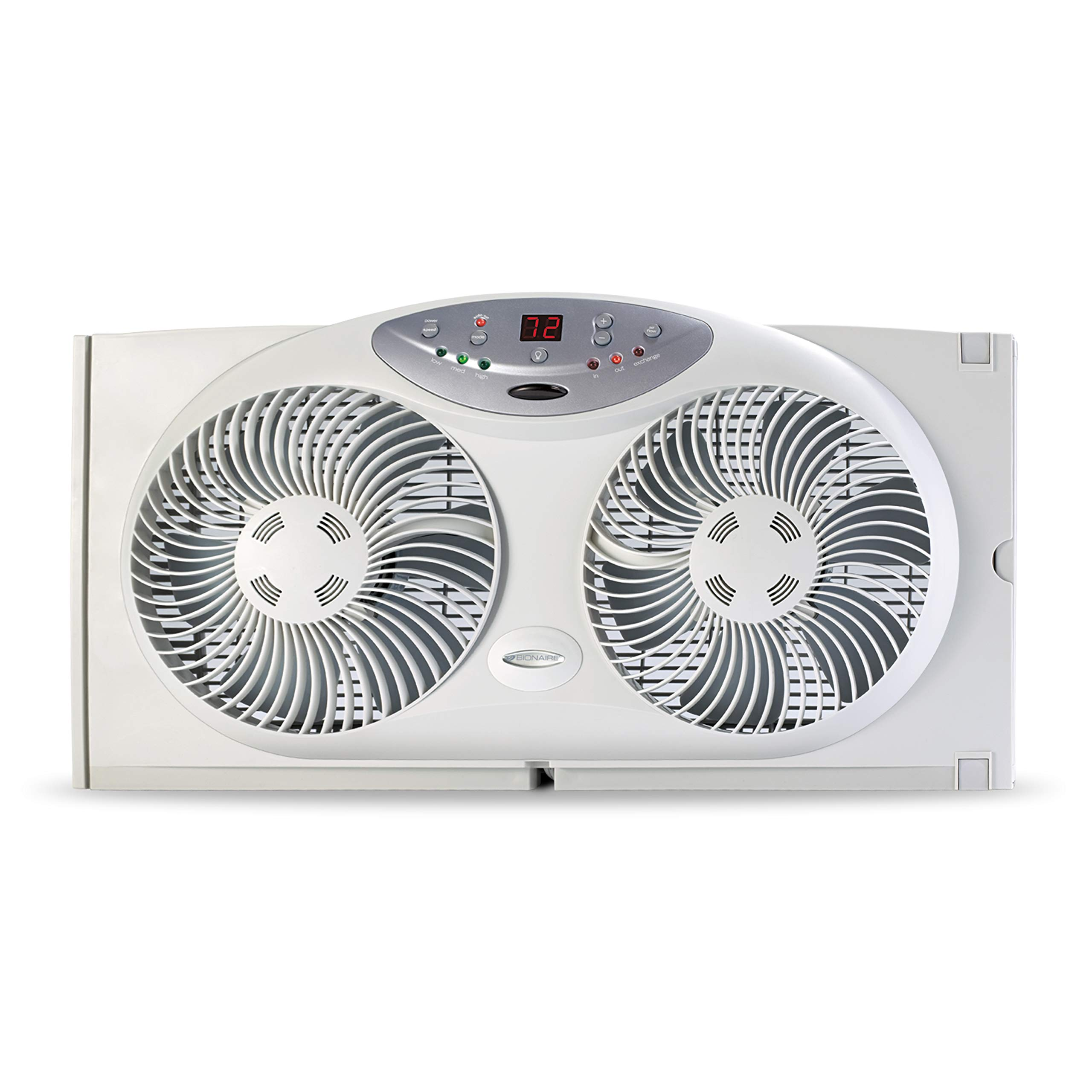 Bionaire Window Fan with Twin 8.5-Inch Reversible Airflow Blades and Remote Control, White by Bionaire