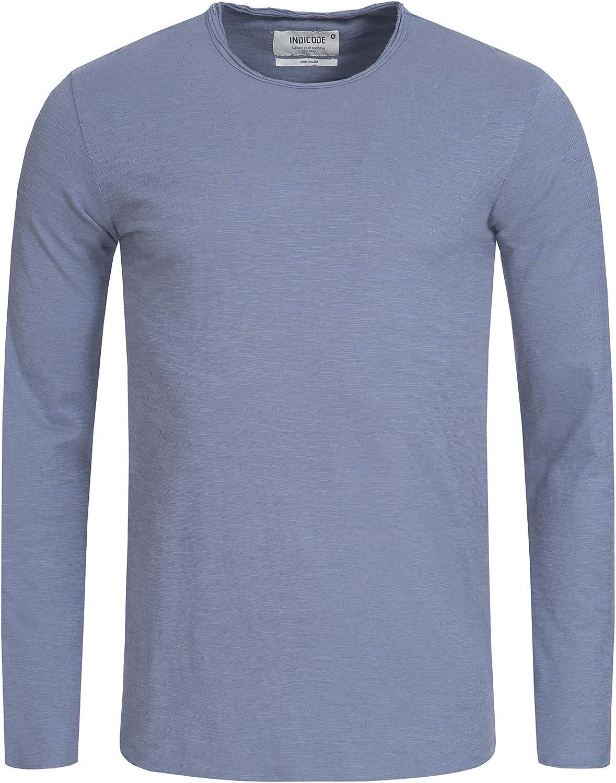Indicode Homme Wilbur T-Shirt /À Manches Longues 100/% Coton /Él/égant T-Shirt Longsleeve Uni sans /& Bicolore avec Grand-P/ère Patte De Boutonnage Ls Tee pour Homme