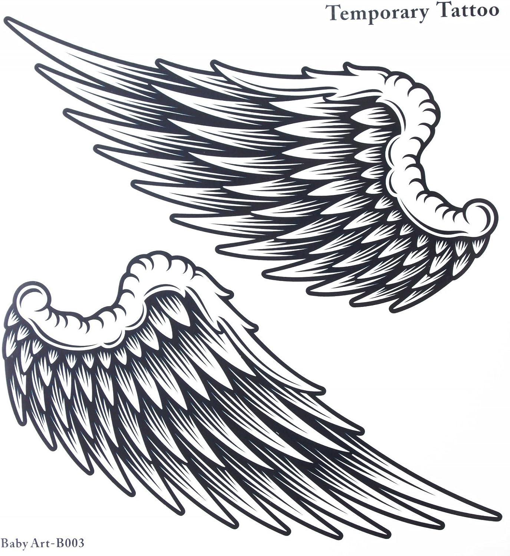 Tatuajes falsos venta caliente moda grandes alas de ángel temporal ...