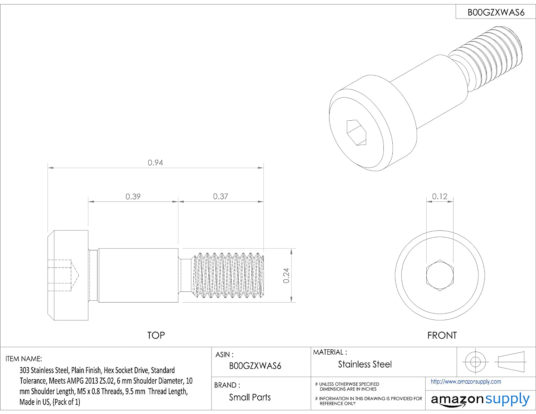Thread Size M5-0.8 Shoulder Screw Alloy Steel