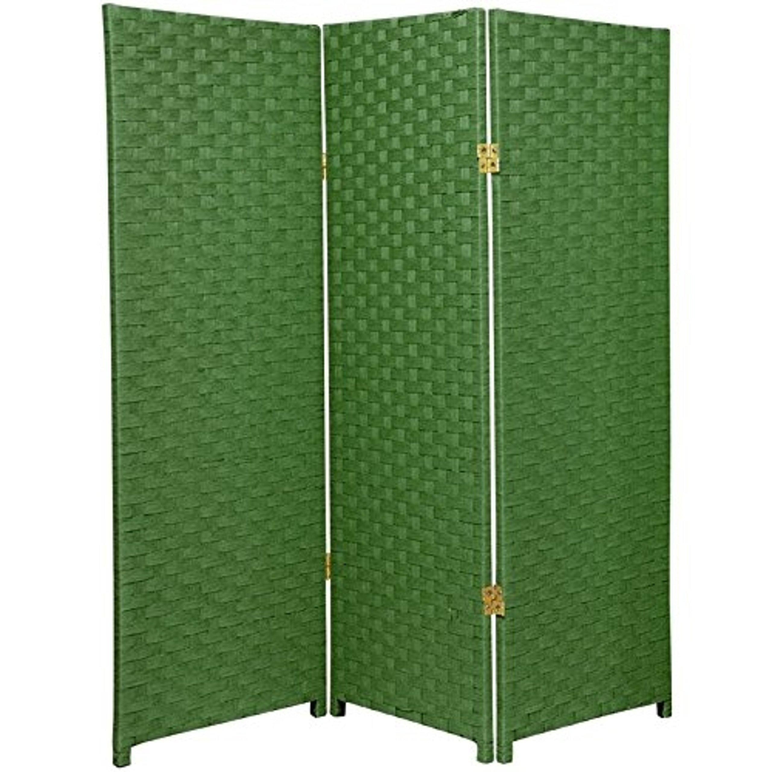 Natural Plant Fiber Woven Room Decor Light Green 3 Panels Divider