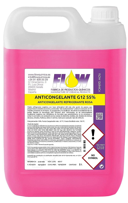 FLOW QUÍMICA ANTICONGELANTE REFRIGERANTE G12 55% Rosa 5 L ...