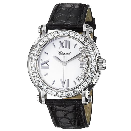 Chopard Feliz Deporte Ronda Ladies Negro Correa de cuero diamantes reloj 278475 - 3037: Amazon.es: Relojes
