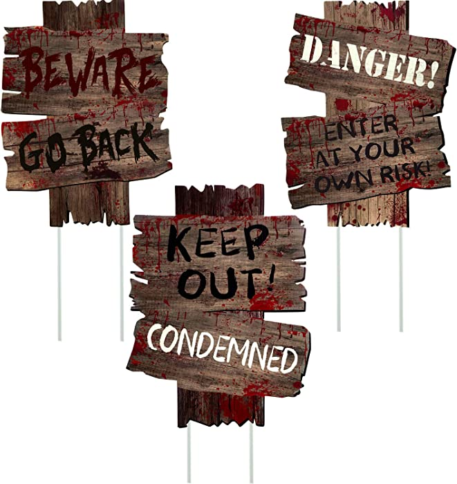 3 Pieces Halloween Beware Signs Yard Stakes Halloween Decorations Cardboard Sign Yard Beware Props Signs for Outdoor Decor Scary Zombie Vampire Graves Holiday Party Supplies
