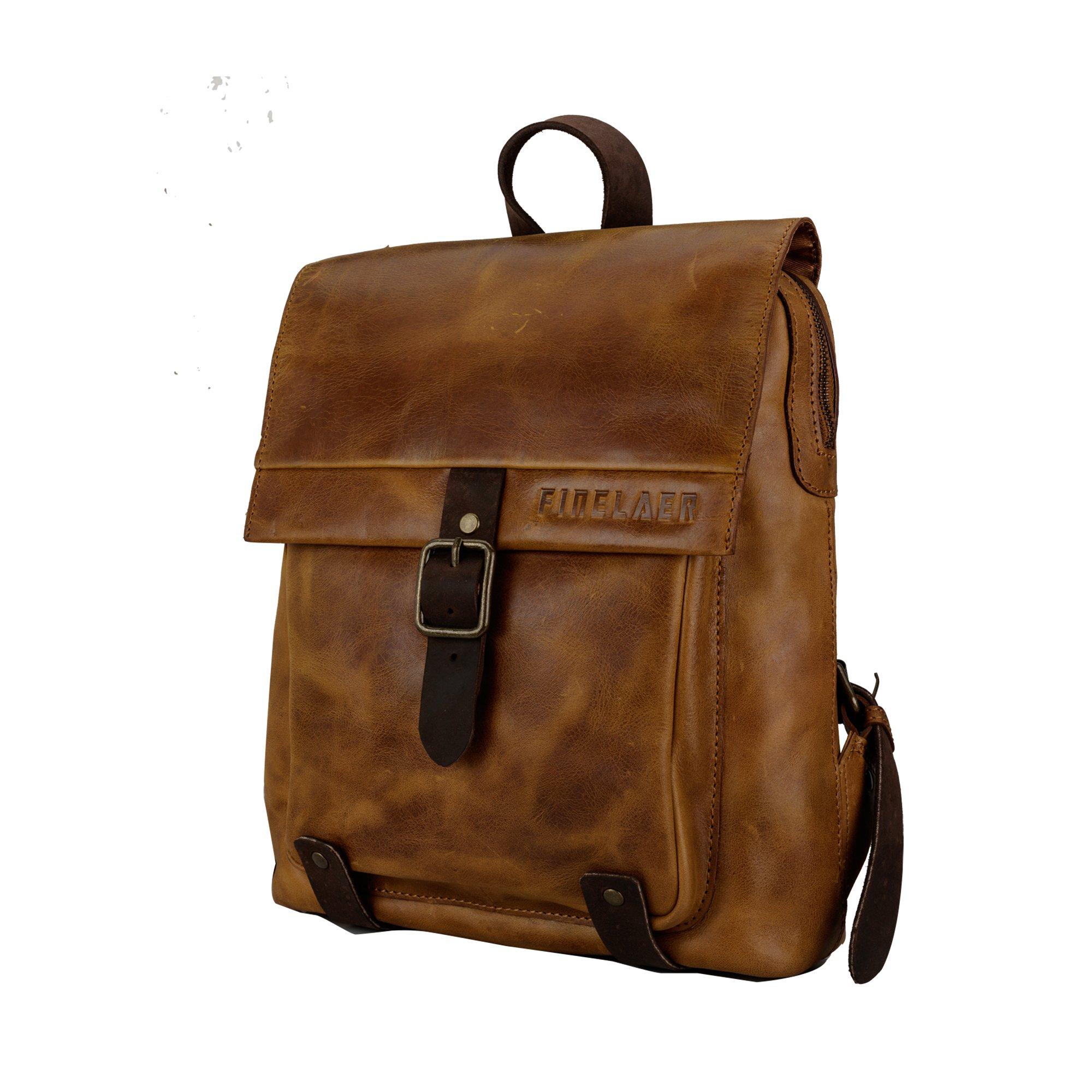 Finelaer Vintage Genuine Leather Backpack DayPack Travel College Bag Brown Men Women by FINELAER (Image #6)