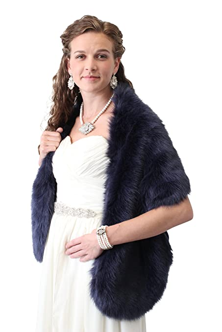 6900b29e0ddf3 Tion Design Faux Fur Stole One Size, Navy Blue Free Brooch