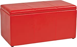 OSP Home Furnishings Metro 3-Piece Bench and Ottoman Cube Set in Vinyl, Red