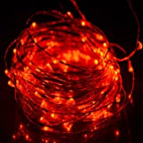 HAHOME Fairy String Lights 33Ft 100LEDs Copper Wire Starry Light with Power Adapter Indoor and Outdoor Use for Party and Holiday Decoration, Red