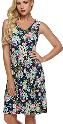 SimpleFun Women Casual Fit V Neck and Floral Sleeveless Dresses
