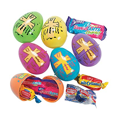 Candy Filled Religious Easter Eggs (Set of 24) Easter Hunt and Party Supplies: Toys & Games