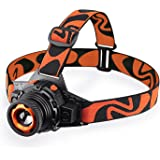 STCT Street Cat upgraded rechargeable LED headlamp flashlight 3 modes,zoomable and waterproof headlamp, Mini Headlamp for free work, hiking, camping, climbing, running and adventure-orange