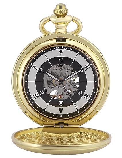 KS Reloj de Bolsillo Hombre con Cadena antiguos Steampunk Esqueleto Mecánico con Caja de Regalo KSP085