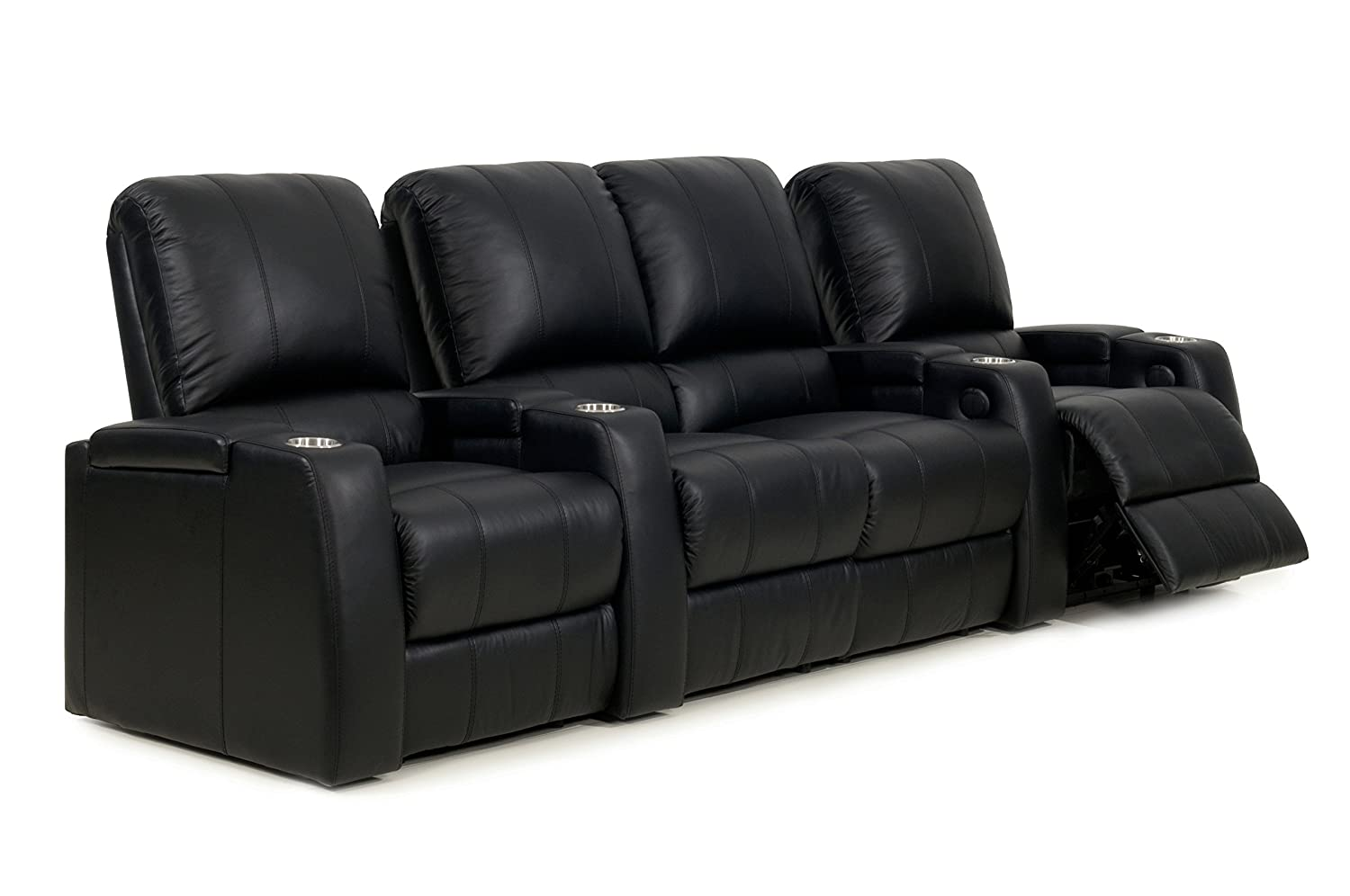 Amazon: Storm XL850 Home Theater Sectional Couch - Octane Seating -  Black Leather - Manual Recline - Straight Row Of 4 Chairs With Middle  Loveseat: