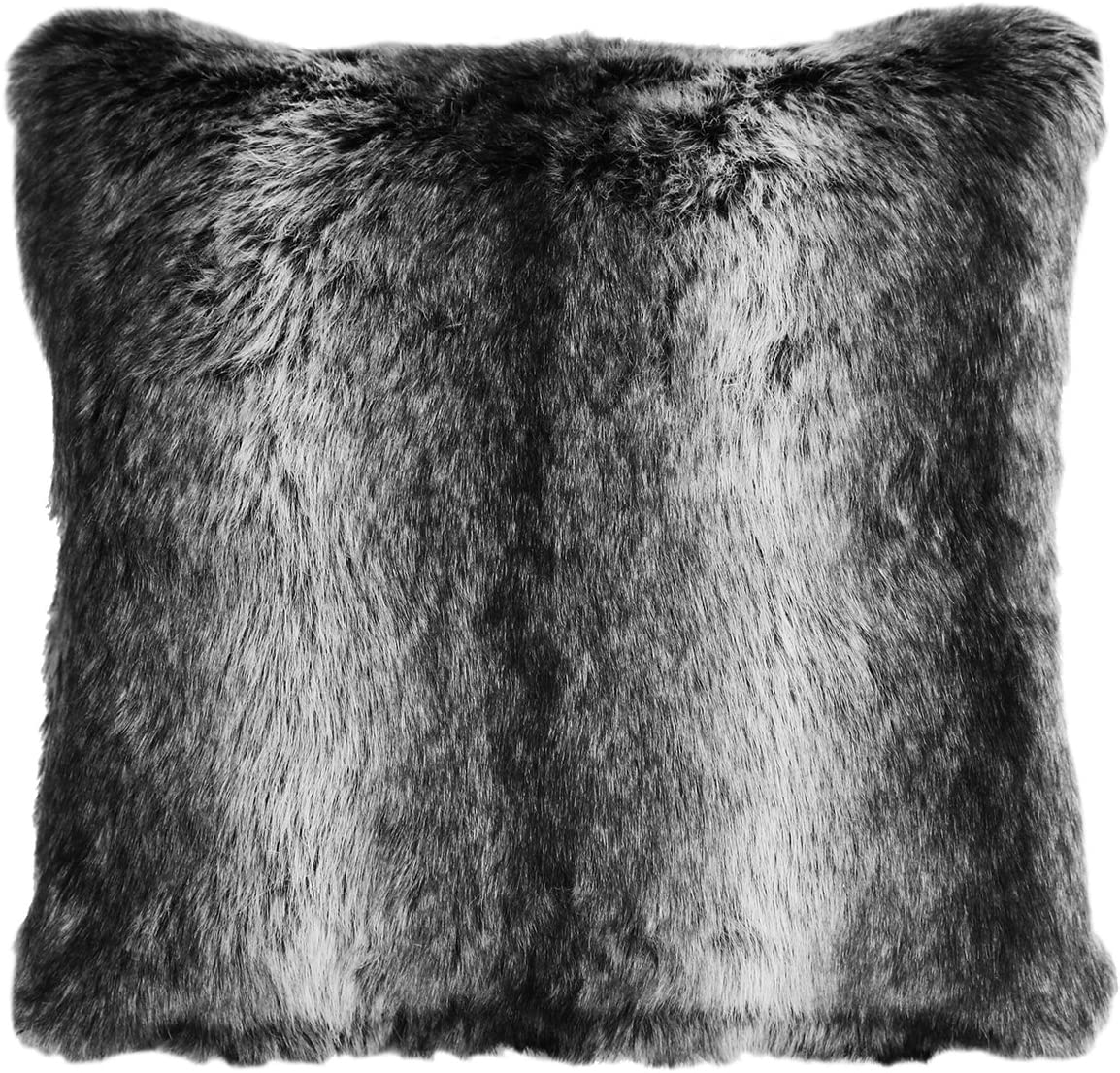 Carstens Wolf Faux Fur Square Pillow, Black
