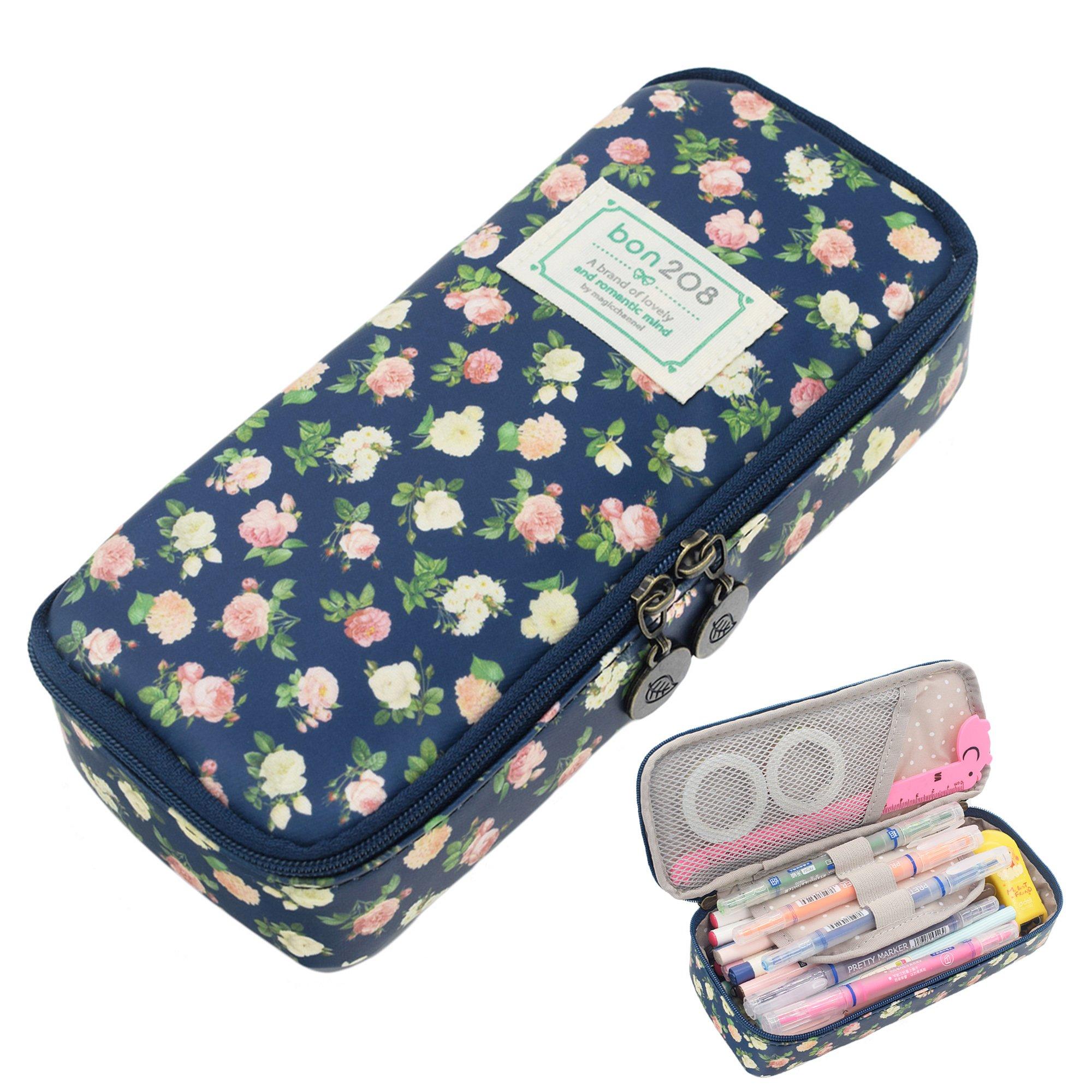 Pencil Case, Twinkle Club Cute Pen Case Zipper Bag Office Organizer Rose Floral Makeup Pouch, Cyan