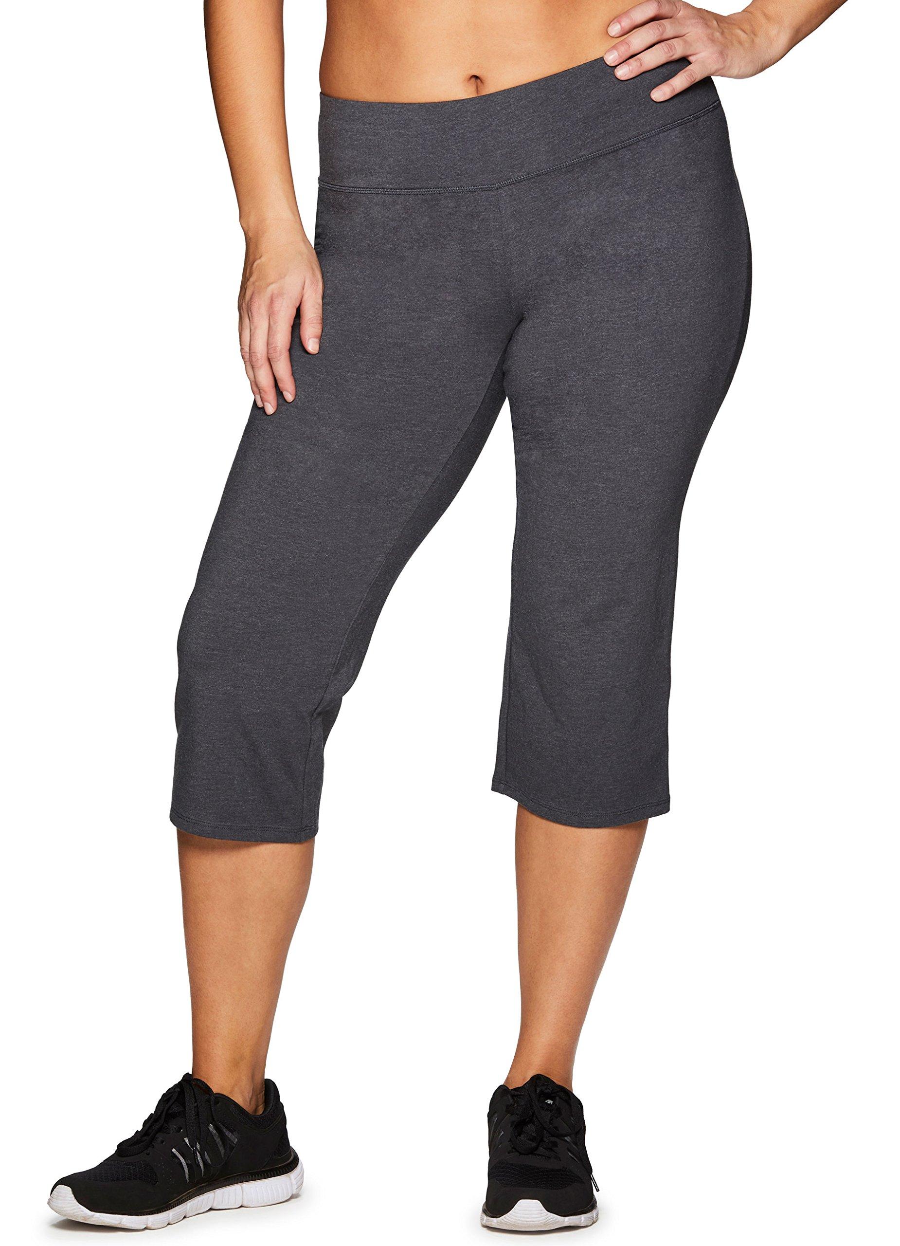 RBX Active Women's Plus Size Flared Cotton Spandex Capri Leggings Span Dark Grey 1X