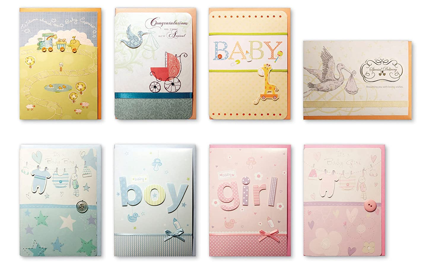 amazoncom assorted congratulations wishes for baby cards box set 8 pack handmade embellished assortment greeting cards for boy or girl birth shower