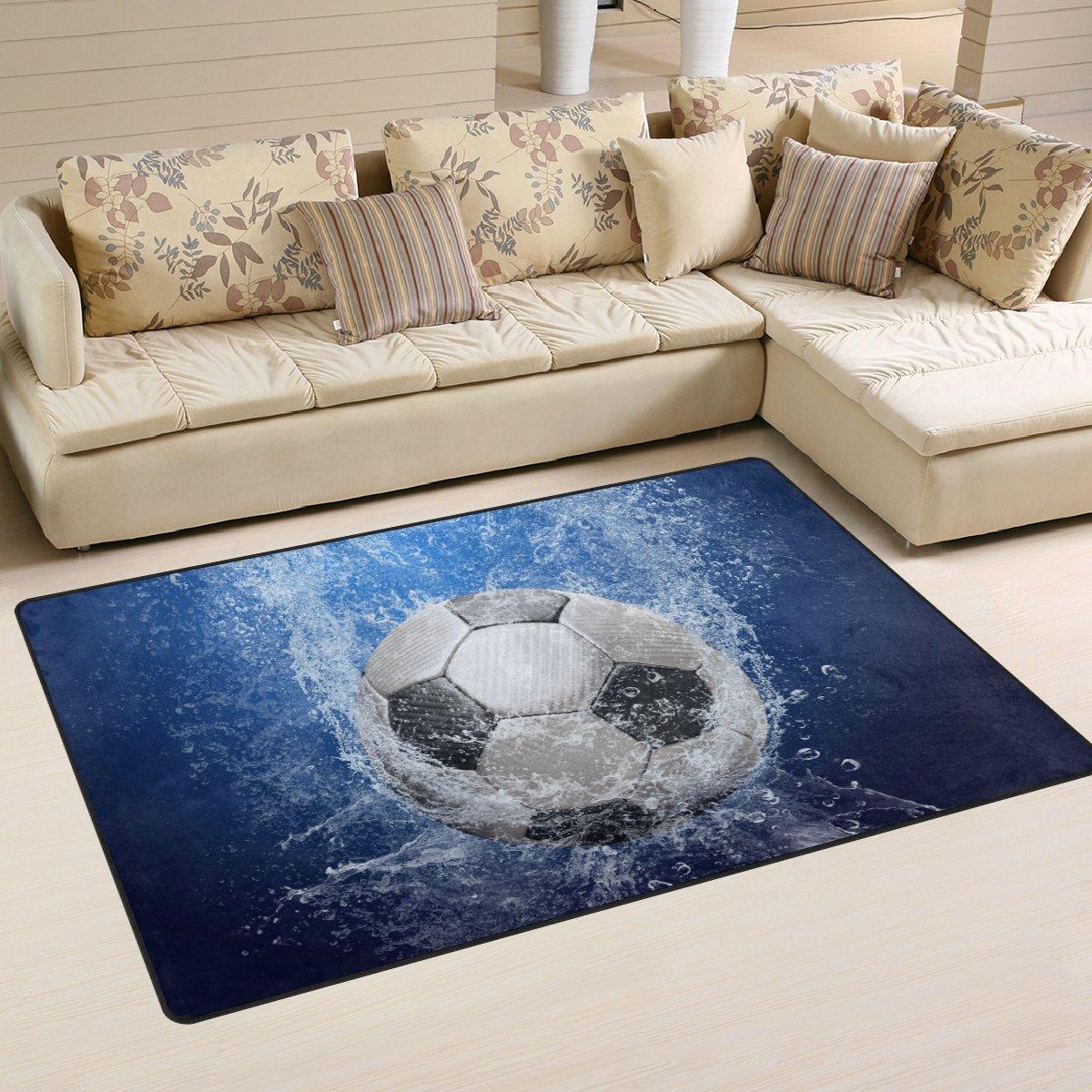 Naanle gocce d' acqua da calcio tappeto antiscivolo per per camera da letto, soggiorno, cucina 50x 80cm (1.7'x 2.6' ft), sport nursery tappeto pavimento tappetino yoga, Multi, 50 x 80 cm(1.7' x 2.6')
