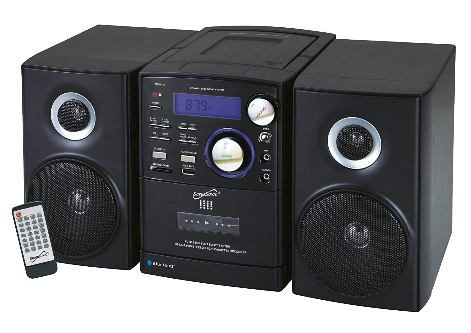 supersonic bluetooth portable stereo system mp3 cd. Black Bedroom Furniture Sets. Home Design Ideas