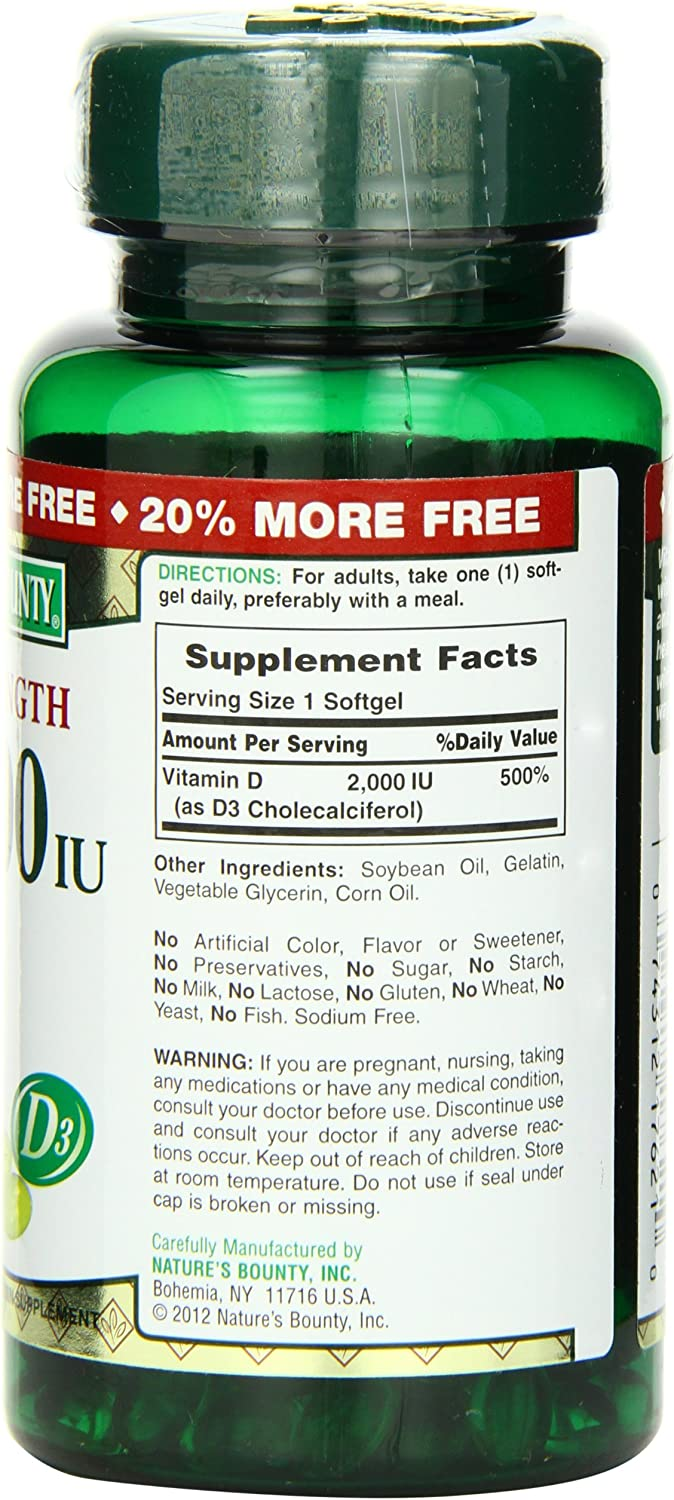 Nature's Bounty, Vitamin D3 Pills 2000iu, 150 Ct