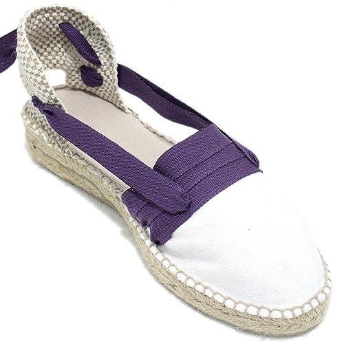 Espardenya.cat Alpargatas Hechas a Mano Tradicionales de Media Cuña Diseño Tres Vetas Color Lila: Amazon.es: Zapatos y complementos