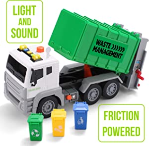 "JOYIN 12.5"" Garbage Truck Toy Friction-Powered Waste Management Recycling Truck Toy Set with 3 Rear Loader Trash Cans, Back Bump Function, Lights & Sounds Long 1:12"