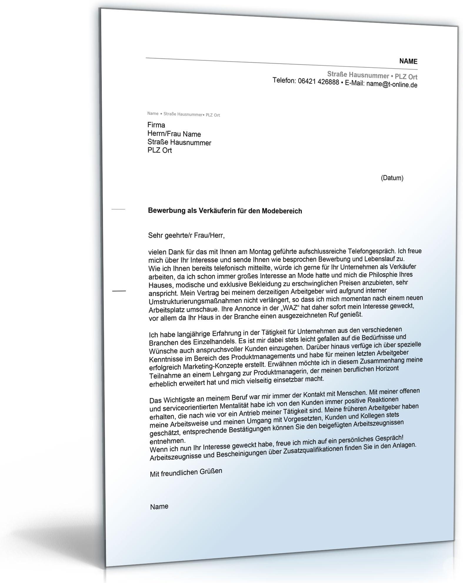 Anschreiben Bewerbung Verkaufer Word Dokument