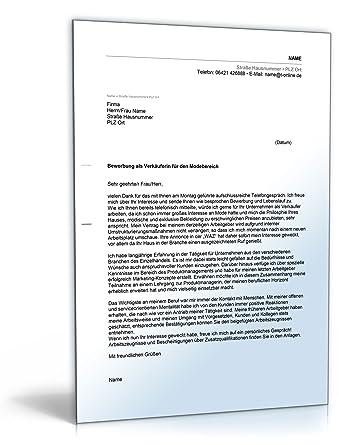 Anschreiben Bewerbung Verkäufer Word Dokument Amazonde Software