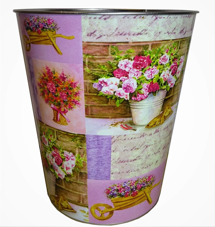 Kp 2er Set Papierkorbe Papierkorb Vintage Pink Lila Papiereimer Metall Mulleimer Landhaus