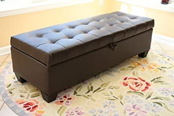 Amazoncom Home Life Mission Brown Tufted Leather Storage Ottoman