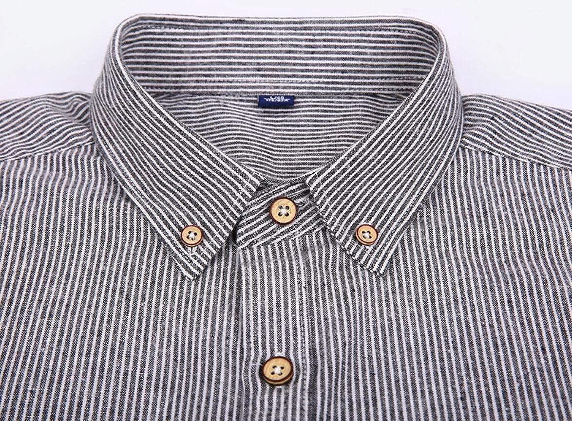 WSPLYSPJY Mens Stripe Shirt Leisure Slim Long Sleeve Button Front Shirts