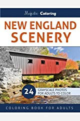 New England Scenery: Grayscale Photo Coloring for Adults Paperback