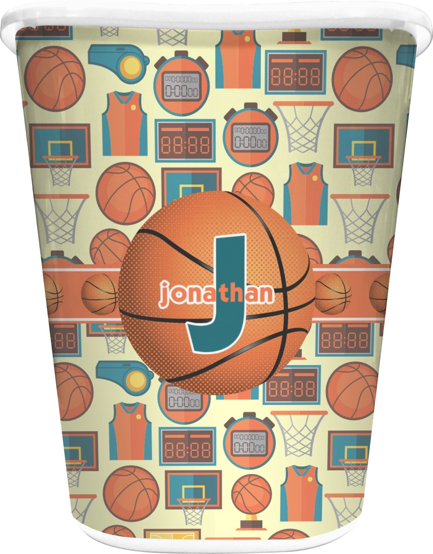 RNK Shops Basketball Waste Basket - Single Sided (White) (Personalized)