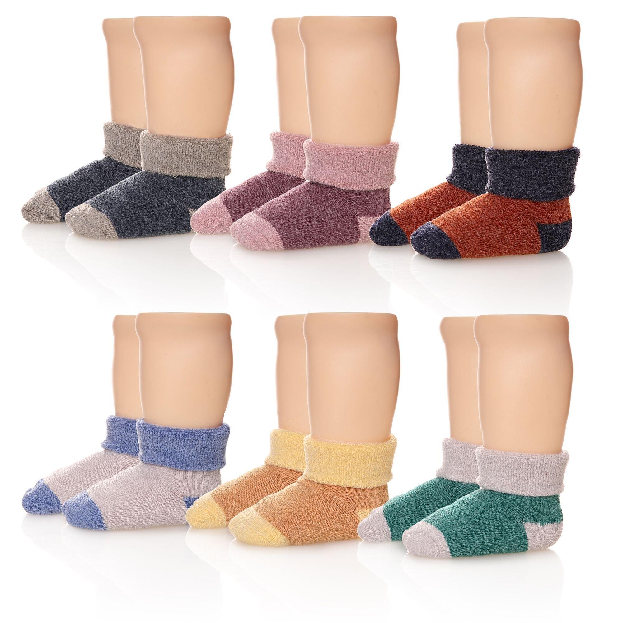 Eocom 6 Pairs Children's Winter Thick Warm Wool Socks Soft Kids Socks Random Color (0-1 Years, Solid Color)
