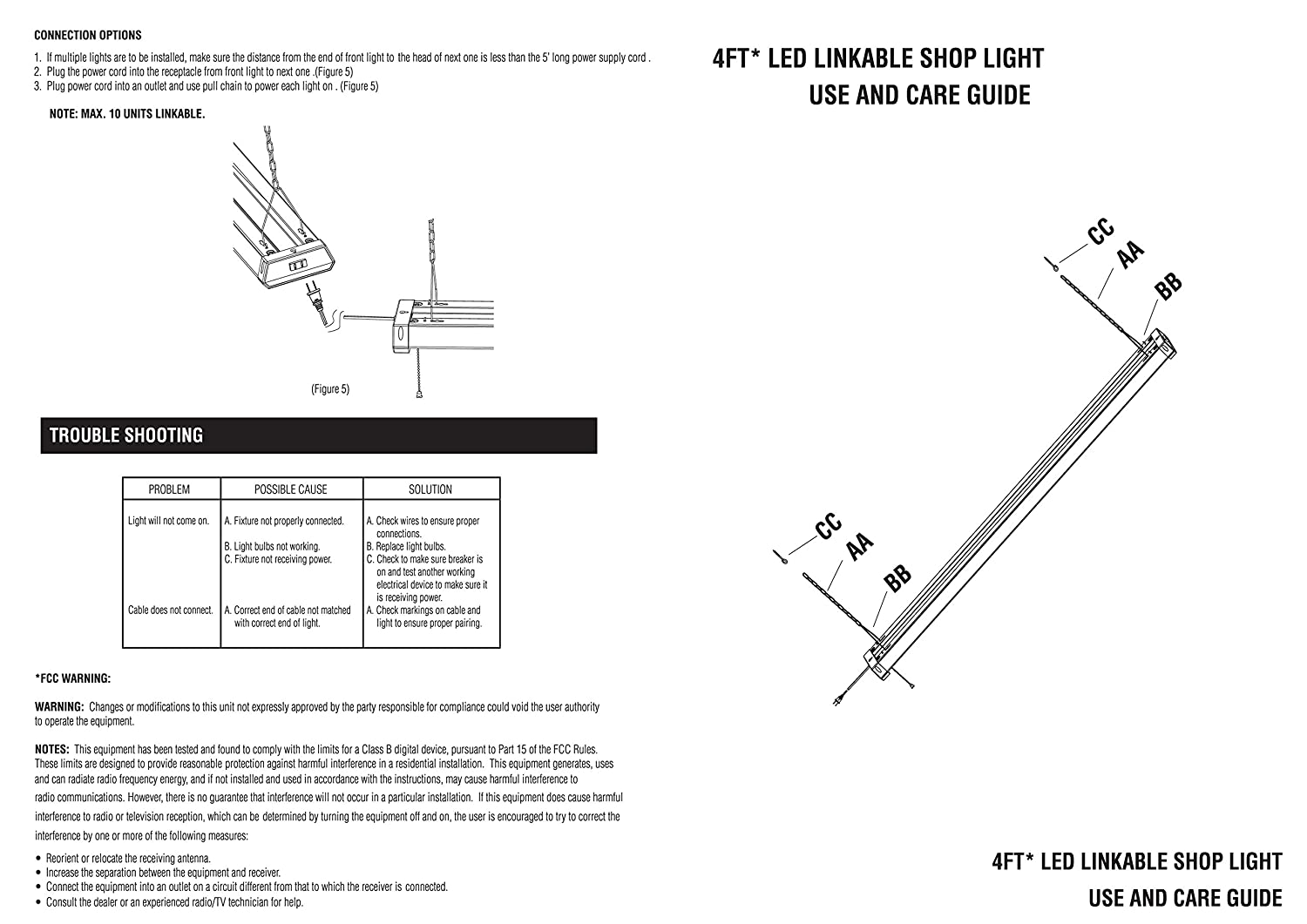 Linkable Led Shop Light 4ft 42w 5000k 4800lm Super Bright, Cetlus 4Ft LED  Kitchen Light 4ft Led Shop Light Wiring Diagram