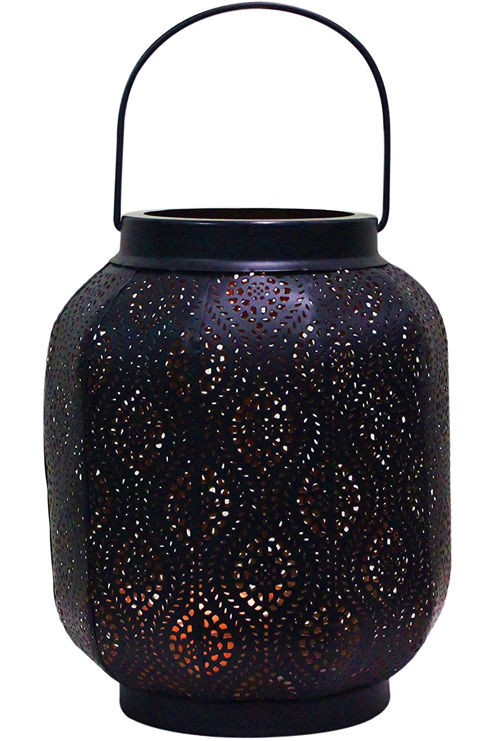 Moroccan Vintage Lantern Lights Lamp Baghira 26cm Black Large Arabian Indoor Candle Tea Light Holders as Indian Party Home Decor Oriental Garden Outdoor Hanging Lanterns for Candles as Decorations