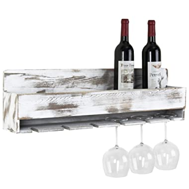 MyGift Rustic Whitewashed Wood Wall-Mounted Wine Rack with Bottle & Glass Holder