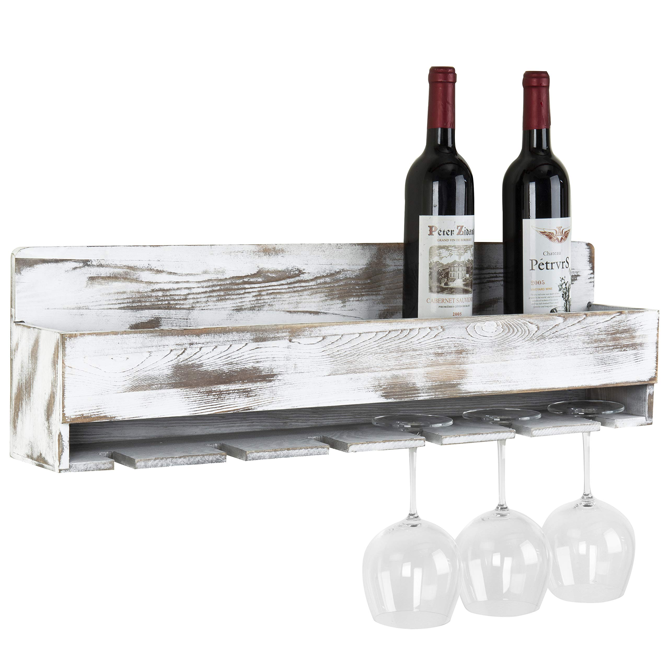 MyGift Rustic Whitewashed Wood Wall-Mounted Wine Rack with Bottle & Glass Holder by MyGift (Image #1)