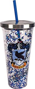 Spoontiques Ravenclaw Glitter Cup w/Straw, 20 ounces, Blue