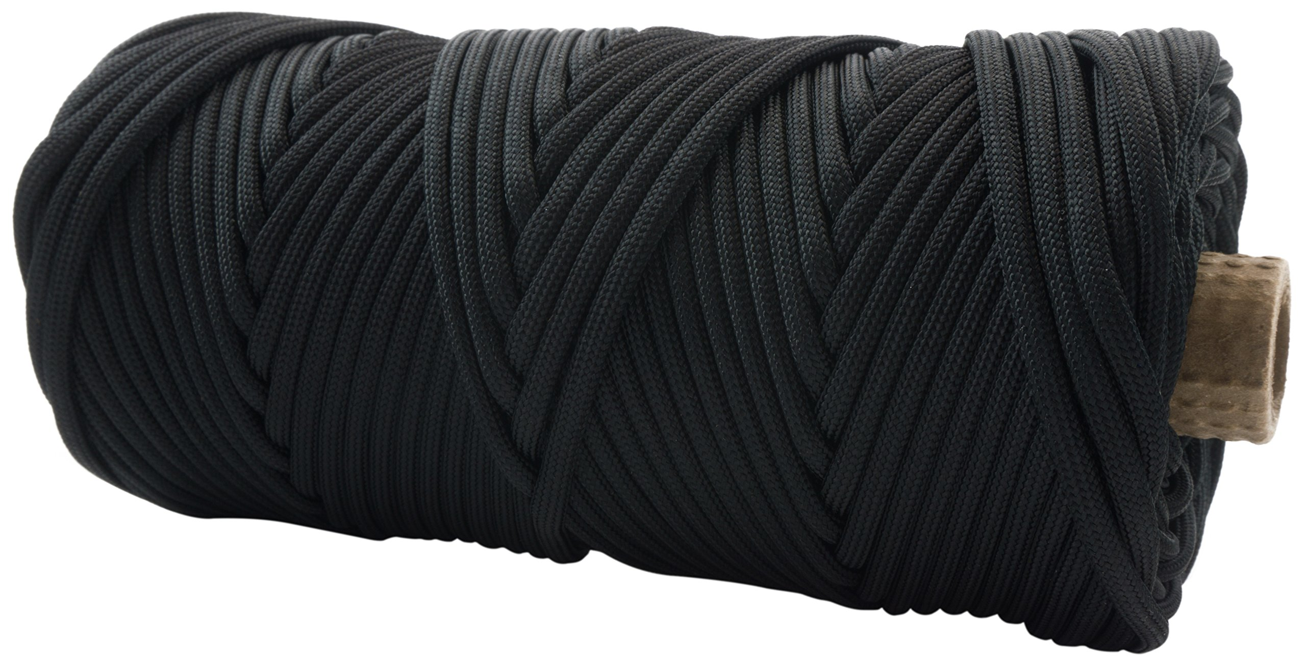 TOUGH-GRID 550lb Black Paracord/Parachute Cord - 100% Nylon Genuine Mil-Spec Type III Paracord Used by The US Military - Great for Bracelets and Lanyards - Made in The USA. 50Ft. - Black by TOUGH-GRID (Image #2)