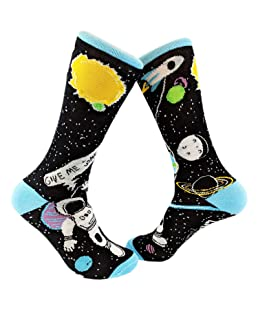 Give Me Some Space Sock Funny Astronaut Footwear (Black) - Mens (7-12)