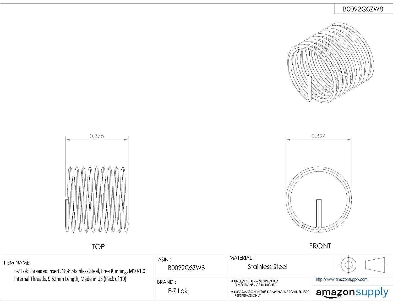M10-1.5 Internal Threads 18-8 Stainless Steel Helical 15mm Length Pack of 10 E-Z Lok Threaded Insert