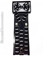 New Suspender Bow Tie Matching Colors Adults Unisex Formal - Halloween - Black Mustache
