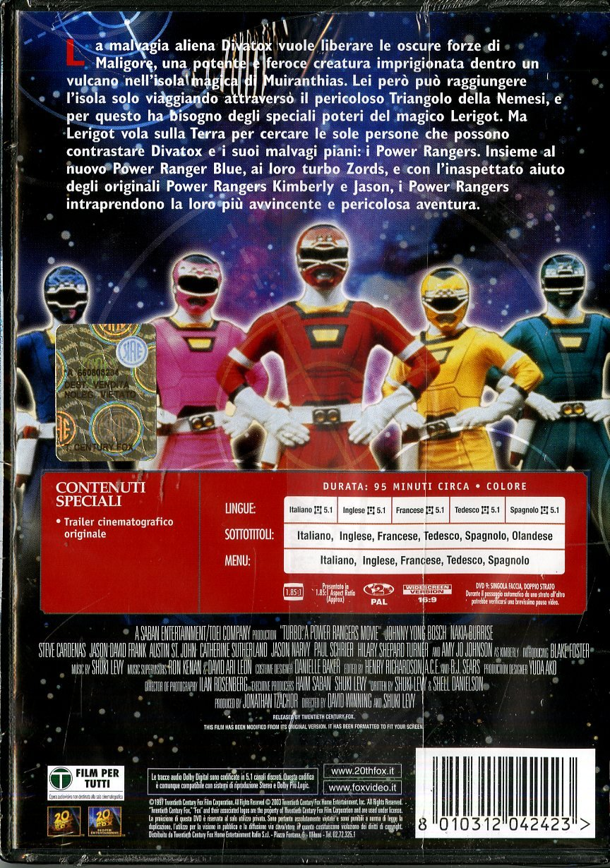 Turbo - Power rangers - Il film [Italia] [DVD]: Amazon.es: Jon Simanton, David Winning: Cine y Series TV