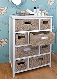Tetbury Large Chest Of Drawers With Whitewash Baskets. White Hallway  Bathroom Basket Storage Unit With