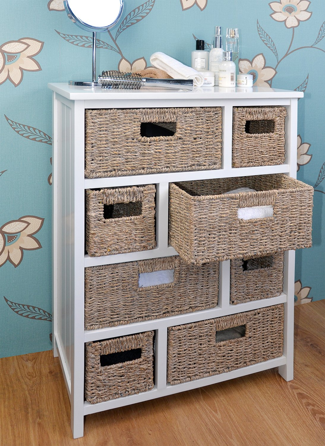 Tetbury white storage unit with 5 drawers bedroom furniture direct - Tetbury Large Chest Of Drawers With Whitewash Baskets White Hallway Bathroom Basket Storage Unit With Solid Sides And Back Fully Assembled