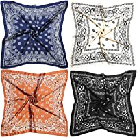 Head Scarf for Women Silk Feeling Scarf Scarves Bandana 4 Pack 27-inch Square Silk Satin Bandana for Women