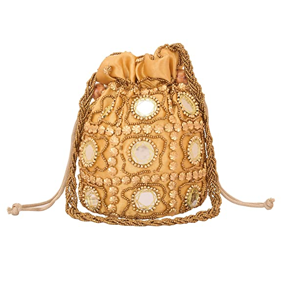 Vintage & Retro Handbags, Purses, Wallets, Bags Jwellmart Traditional Satin Potli Drawstring Pouch Purse Wristlet Beaded Mirror Wedding Evening Party Bridal Clutch $19.99 AT vintagedancer.com