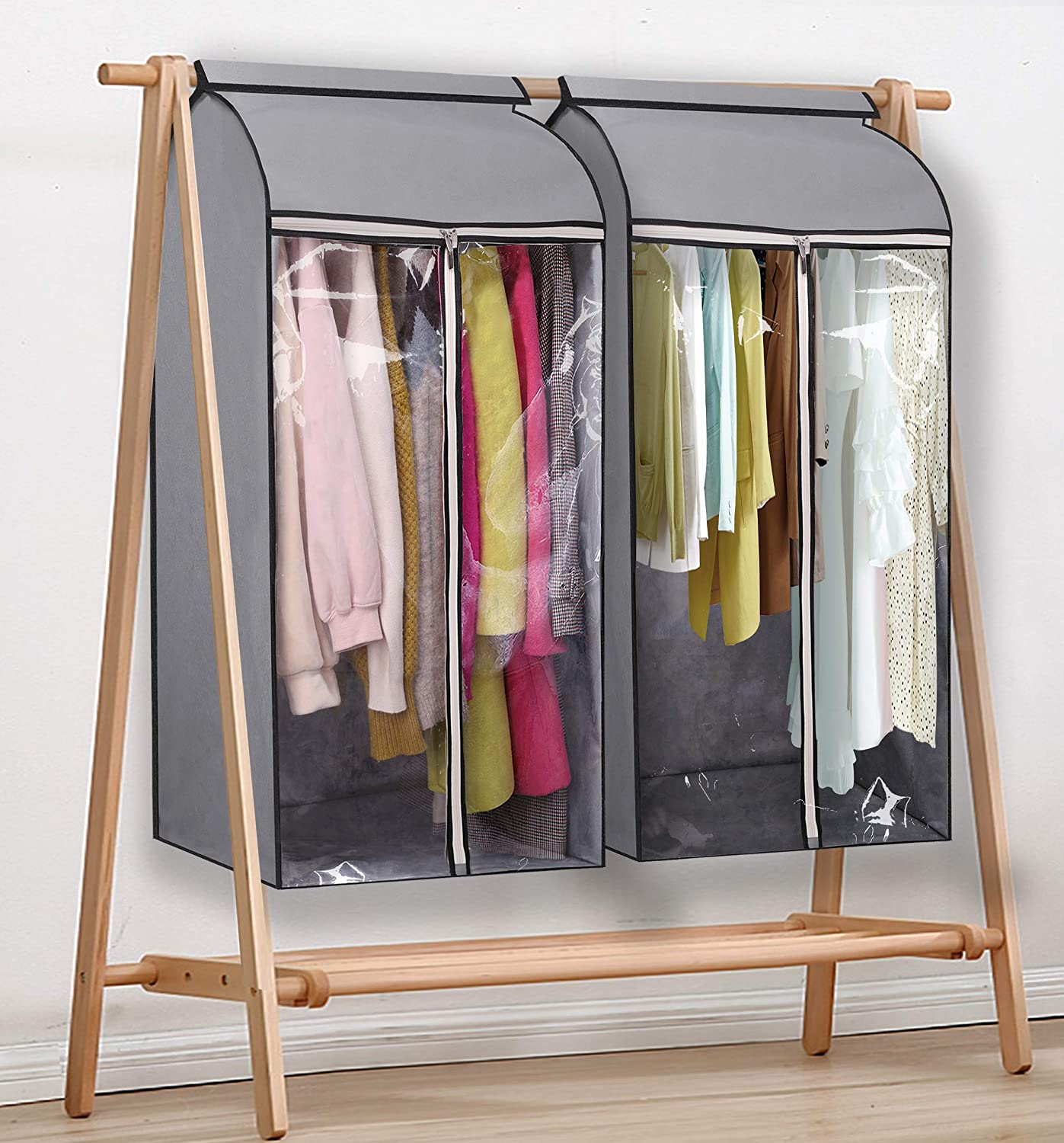 Frameless ,2 Packs MISSLO 43 Hanging Garment Bags for Storage Well Sealed Clothes Dust Cover with Large Clear Window and 3 Zippers Opening for Suit Coat Closet Rack