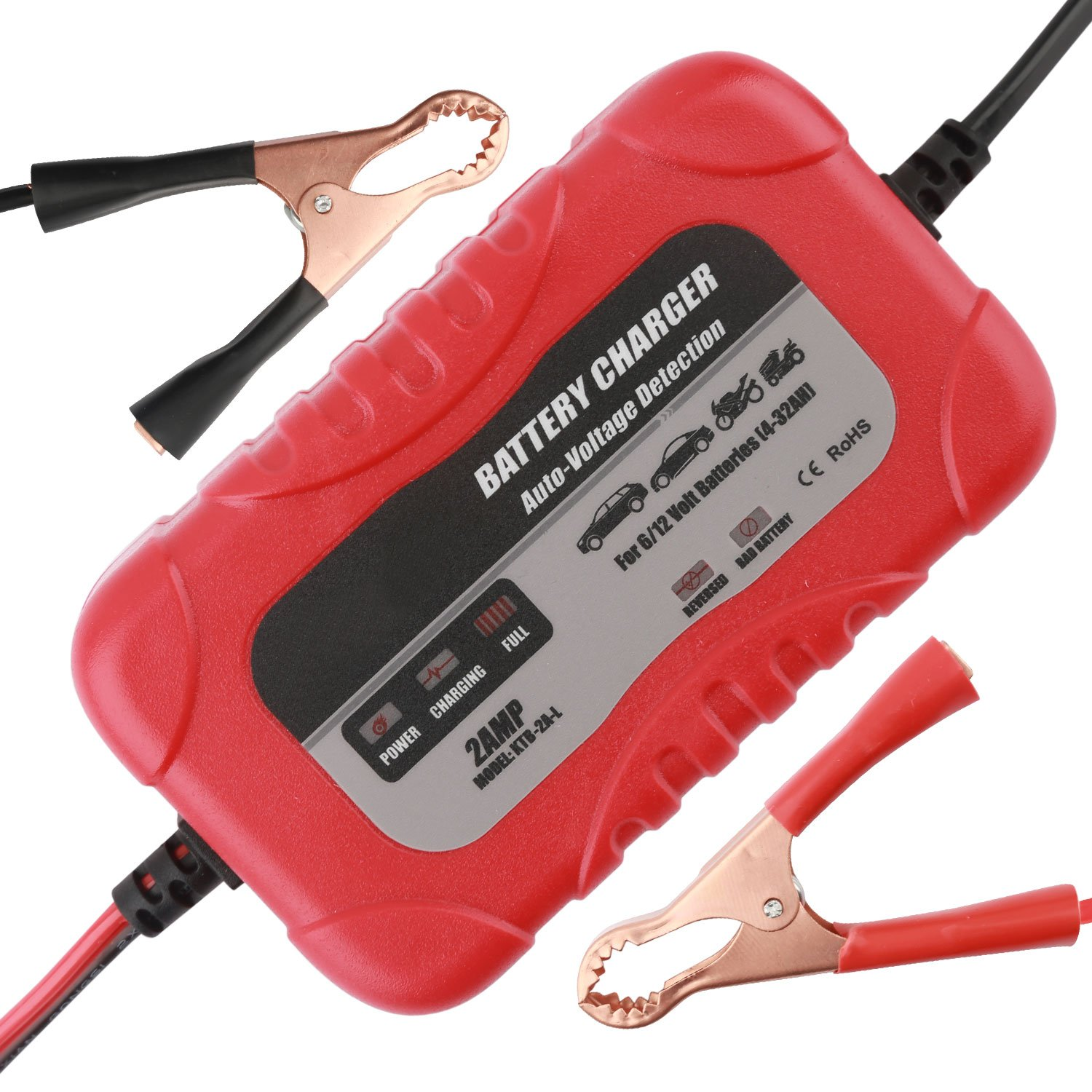 Automotive Car Battery Charger Trickle Charger,Battery Charger Automotive Maintainer 6V 12V Automotive Battery Charger 2Amp for Car Battery Motorcycle Lawn Mower Marine Scooter Lead Acid Battery